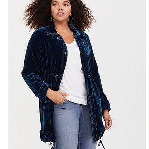 Torrid Blue Velvet Jacket
